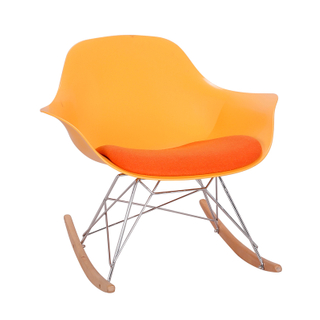 Comfortable Plastic Backrest Natural Wood Legs Arm Chair Matte Finish